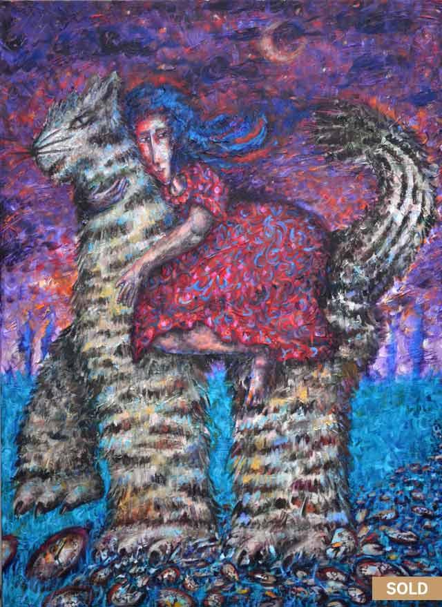 Sueño Gatuno painting by Pablo Montes