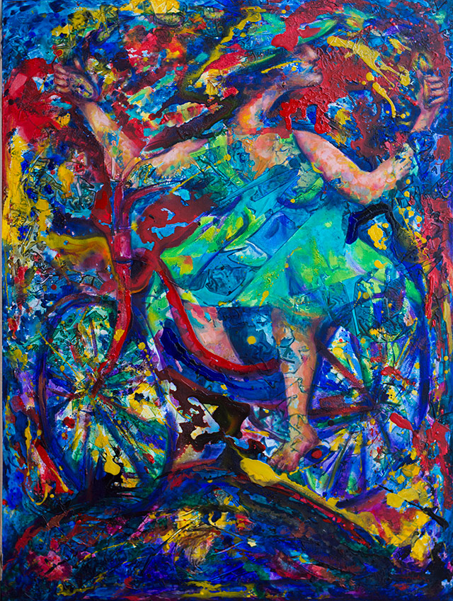 Energetic voyage-Woman ridding a bycicle acrylic Painting