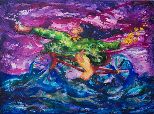 Woman happy in a bicycle acrylic painting
