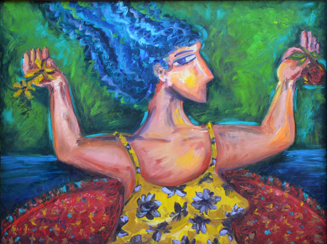 Happy woman with flower oil painting