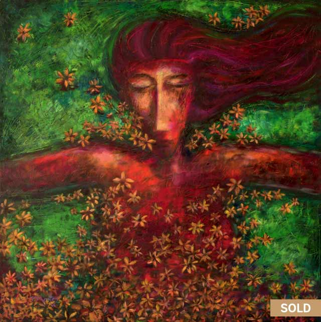 Woman sleeping with flowers on a pond oil Painting by Pablo Montes