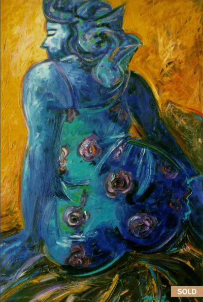 Mujer Azul (Blue Woman) Prints. Oil painting by Pablo Montes