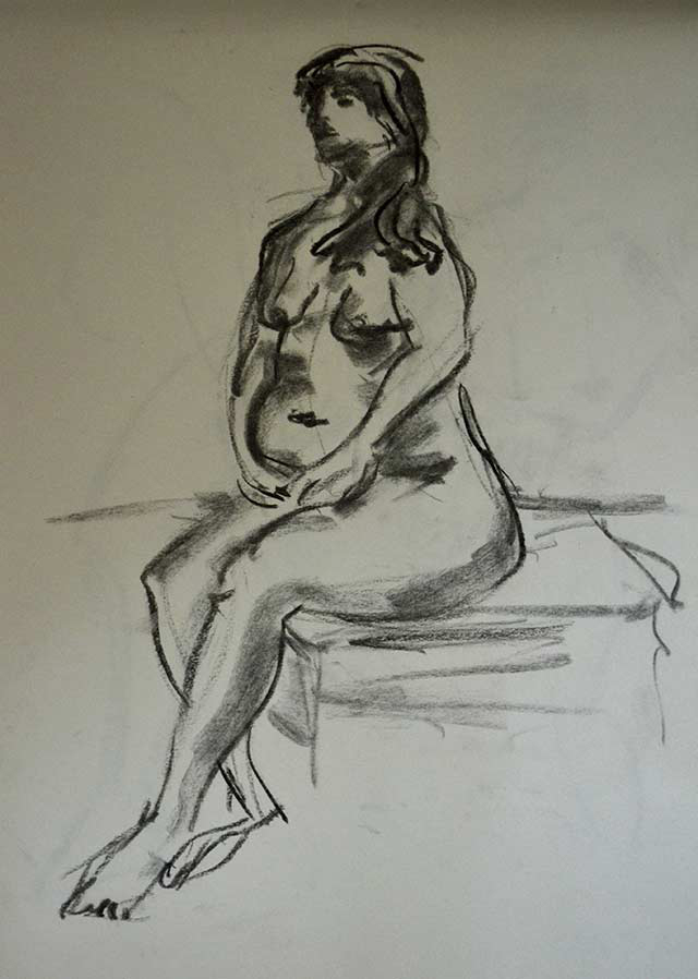Sitting woman sketch 8 by Pablo Montes