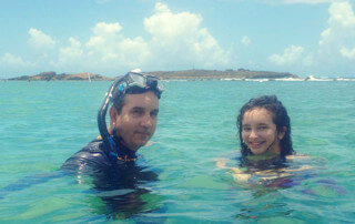 Pablo Montes and daughter doing Snorkeling