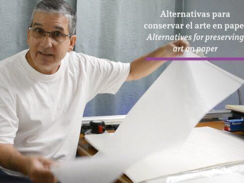 Pablo Montes showing glassine paper