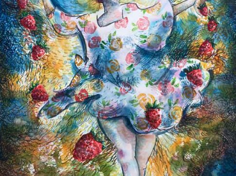 Falling Strawberies, watercolor by Pablo Montes